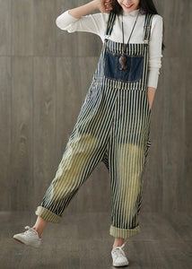 Women Casual Cotton Minimalist Vertical Striped Vintage Full Length Jumpsuits