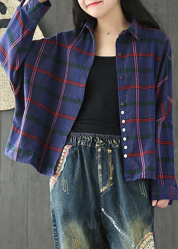 Women Casual Plaid Loose Cotton Spring Shirt
