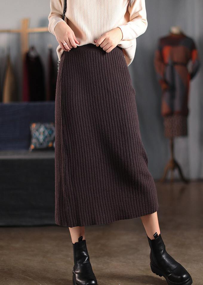 Women Chocolate Dresses Elastic Waist Patchwork Robes Spring Skirt