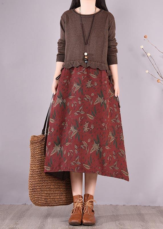 Women Chocolate Patchwork Print Clothes O Neck Loose Spring Dress