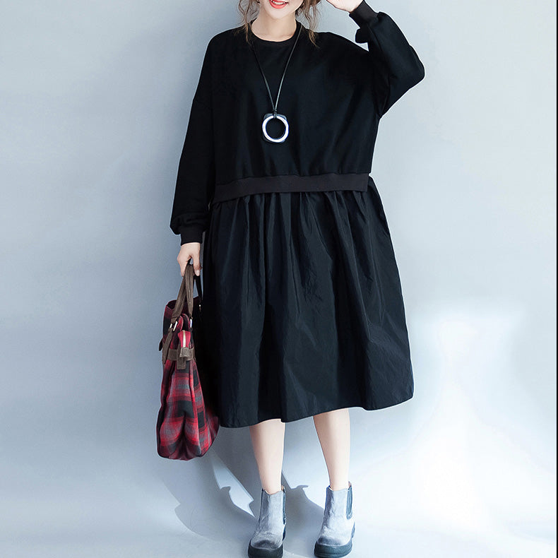 Women Clothing Casual Loose Dress Fashion Patchwork Dresses