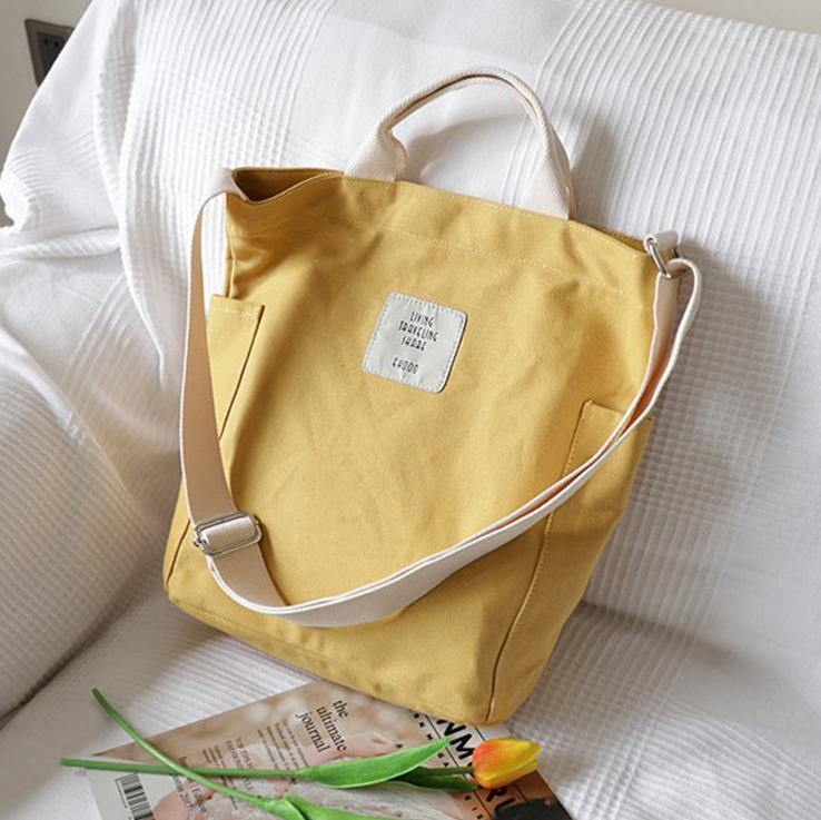 Women Design Casual Patchwork Large yellow Canvas Shoulder Bag