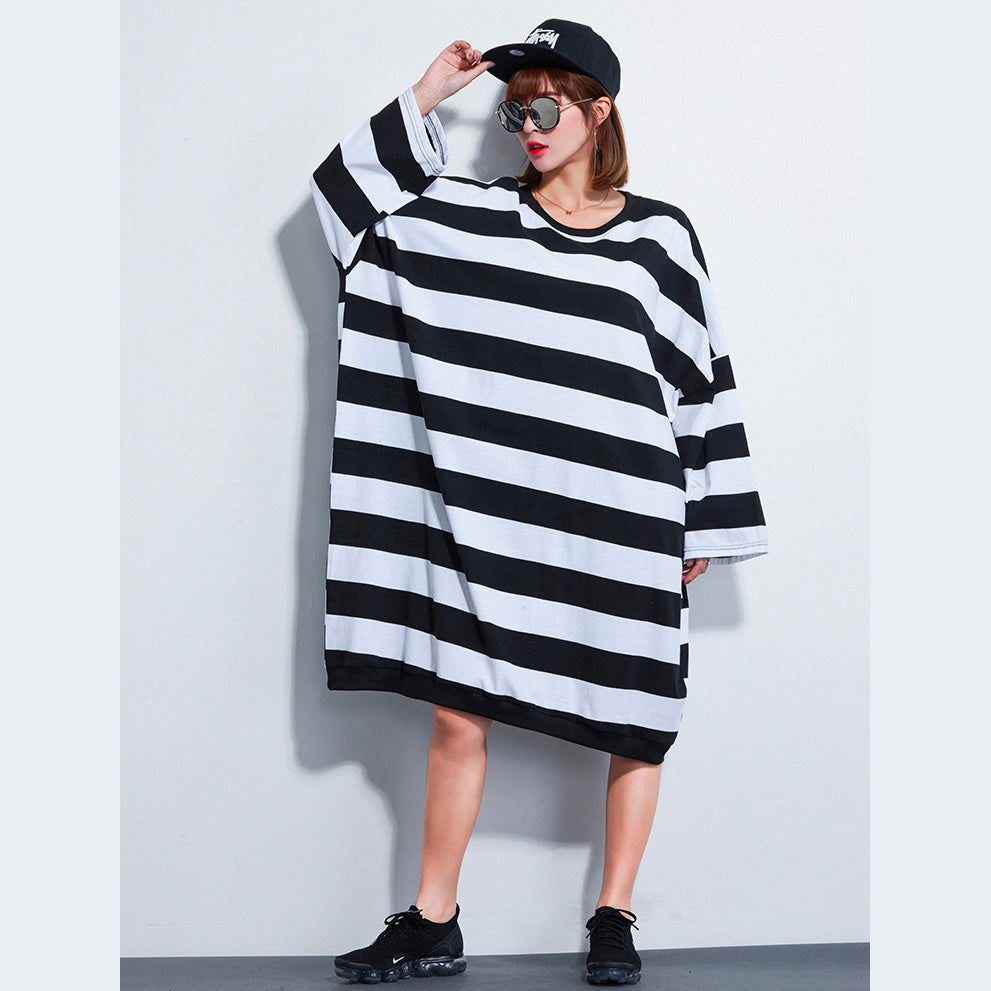 Women Dress Casual Loose Striped Dresses
