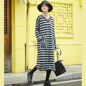 Women Fashion Gray Striped Loose Sweater Dresses For Winter