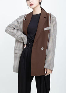 Women Fashion patchwork coats khaki Art outwear