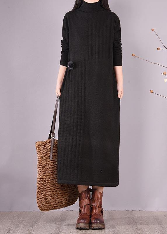 Women High Neck Spring Wardrobes Sleeve Black Robe Dress