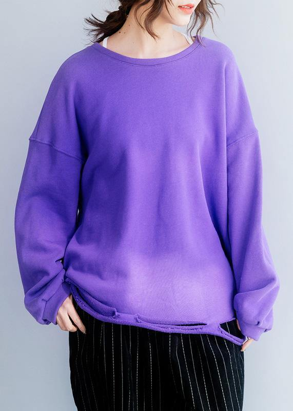 Women Hole hem cotton o neck clothes Neckline purple shirt