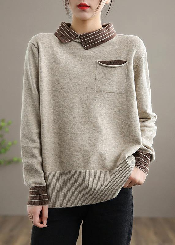 Women Nude Knit Tops Clothing Lapel Patchwork Knit Top Silhouette