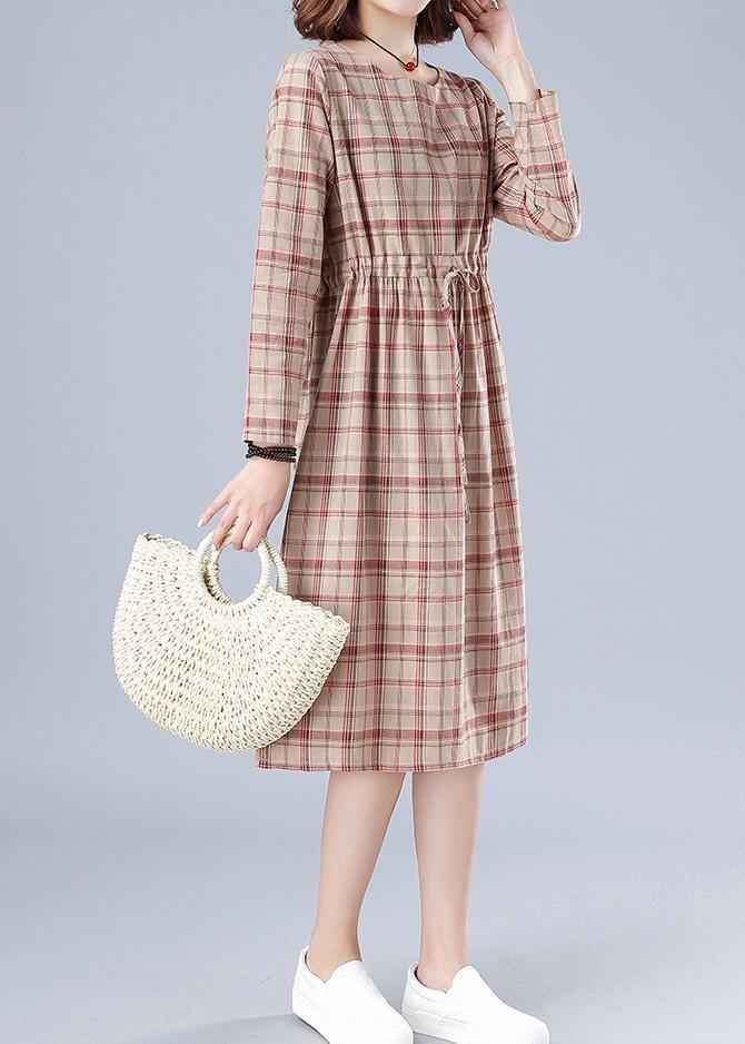 Women O Neck Drawstring Spring Clothes Ideas Nude Plaid Dresses
