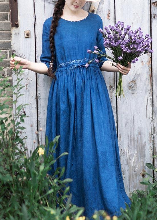 Women O Neck Drawstring Spring Tunic Runway Blue Long Dresses