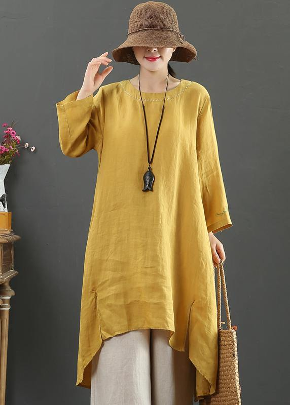 Women O Neck Low High Design Spring Clothes Shirts Yellow Embroidery Art Dress