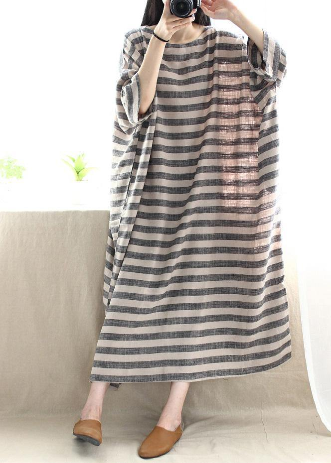 Women O Neck Pockets Runway Striped Dresses