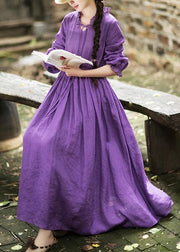 Women O Neck Ruffles Spring Dress Neckline Purple Maxi Dresses
