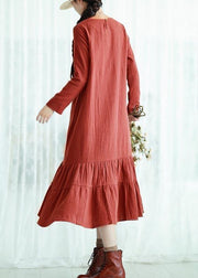 Women O Neck Ruffles Spring Quilting Clothes Design Orange Traveling Dress