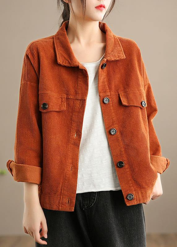 Women Orange Fashion Clothes Wardrobes Lapel Button Down jackets