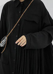 Women POLO collar cotton clothes For Women black long shirt Dress