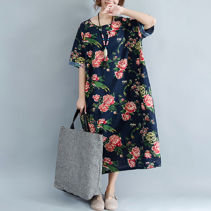 Women Plus Size Clothing Loose Floral Casual Dresses