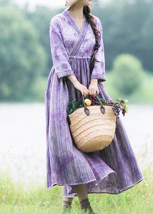 Women Purple Striped Quilting Dresses Patchwork Two Ways To Wear long Spring Dress