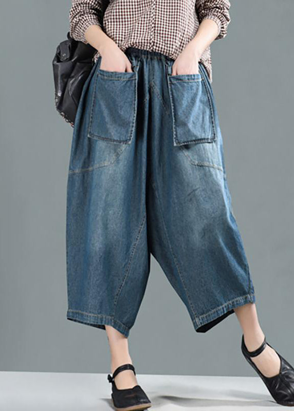 Women Spring Casual Big Pockets Solid Loose Jeans