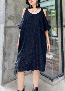 Women Starry sky black clothes off the shoulder tunic Dresses