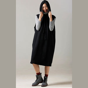 Women Sweater weather Refashion fall hooded black Big knitted tops sleeveless