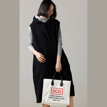 Load image into Gallery viewer, Women Sweater weather Refashion fall hooded black Big knitted tops sleeveless