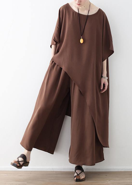 Women asymmetric hem chiffon box top Work brown tunic blouse summer