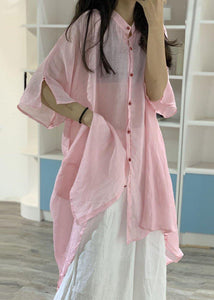 Women asymmetric hem linen clothes Christmas Gifts pink stand collar shirt Dresses