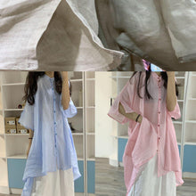 Load image into Gallery viewer, Women asymmetric hem linen clothes Christmas Gifts pink stand collar shirt Dresses