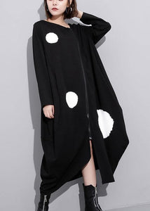 Women asymmetric hem top quality zippered trench dress black Plus Size Clothing dress