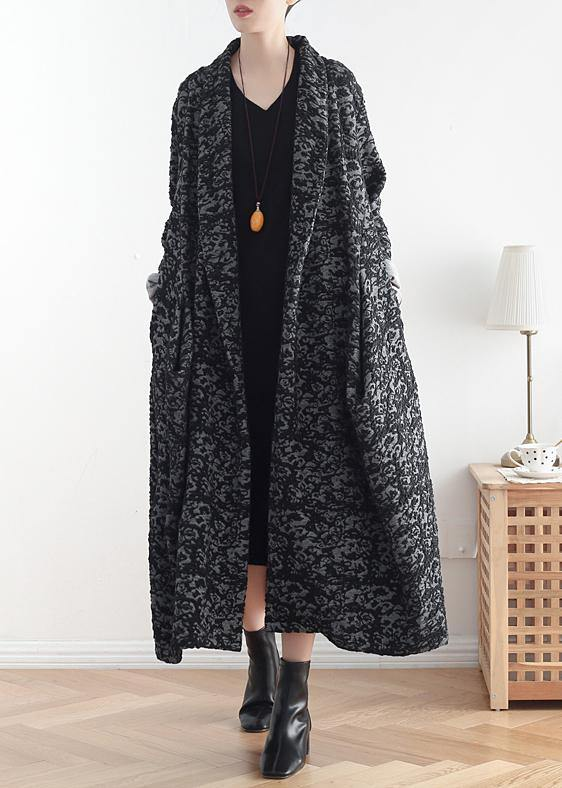 Women asymmetric fine clothes dark gray jacquard Midi coats