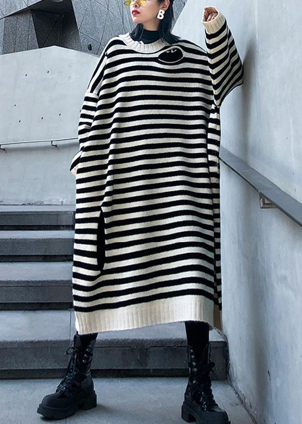 Women beige striped Sweater outfits Design o neck Hole DIY  sweater dresses
