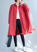 Load image into Gallery viewer, Women big pockets Cotton red long sleeve shirt Dresses fall