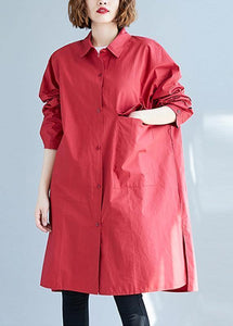 Women big pockets Cotton red long sleeve shirt Dresses fall