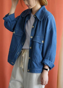 Women big pockets cotton blouses for women Tutorials blue coats fall