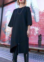 Load image into Gallery viewer, Women black Cotton Tunics open hem design loose fall Dress