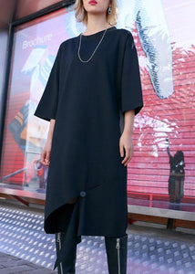 Women black Cotton Tunics open hem design loose fall Dress