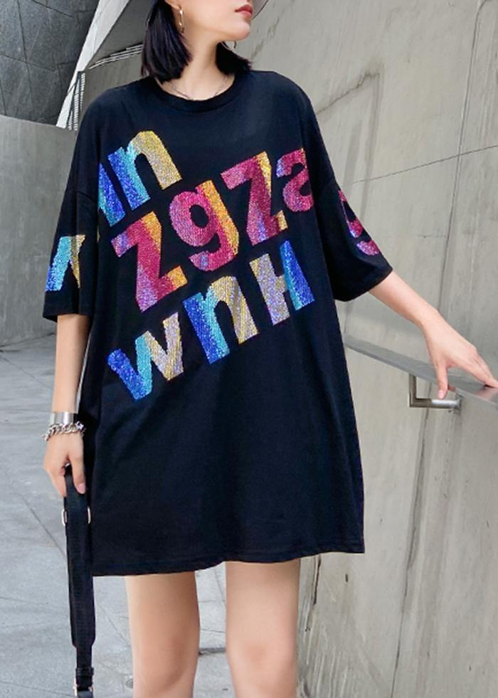 Women black Letter cotton tunic top o neck oversized blouse