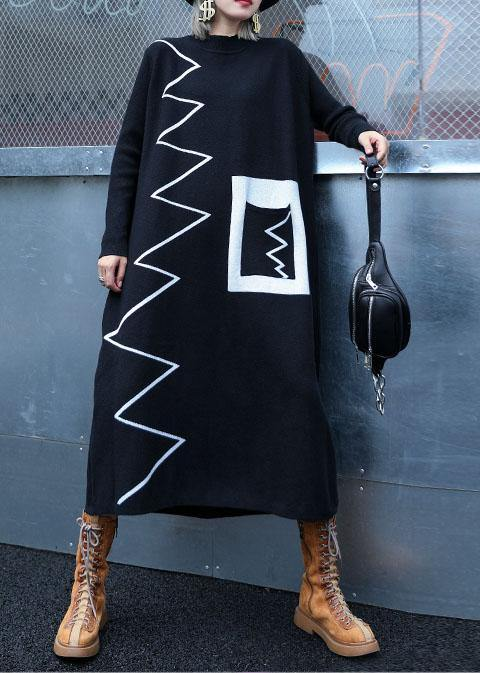 Women black Sweater dresses DIY patchwork color Ugly fall knitwear