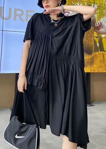 Women black Tunics o neck Cinched Maxi asymmetric Dress