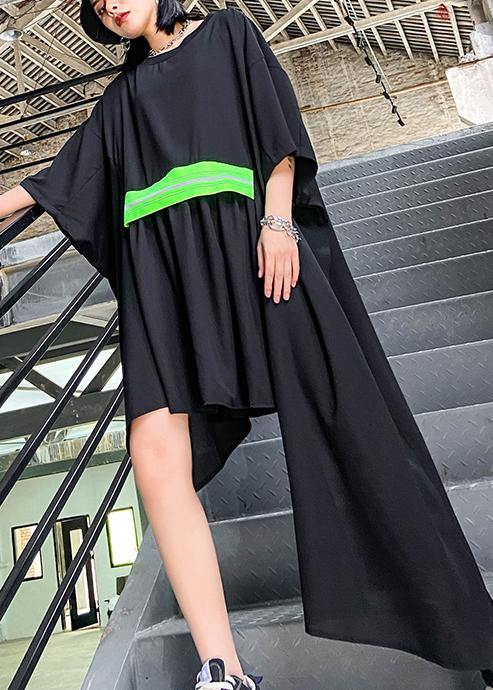 Women black clothes o neck asymmetric Art Dresses