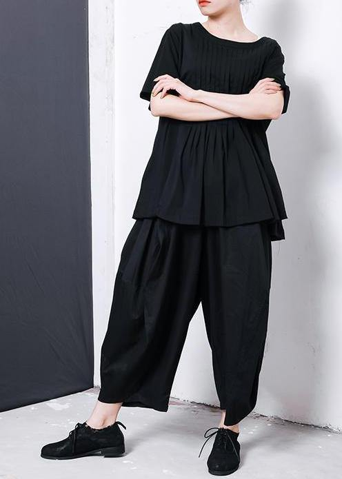 Women black cotton blended Solid Color Pleated Loose Bloomers