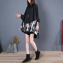 Load image into Gallery viewer, Women black cotton clothes For Women patchwork daily fall long shirt
