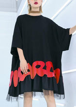 Load image into Gallery viewer, Women black cotton clothes For Women red alphabet prints tunic summer shirt