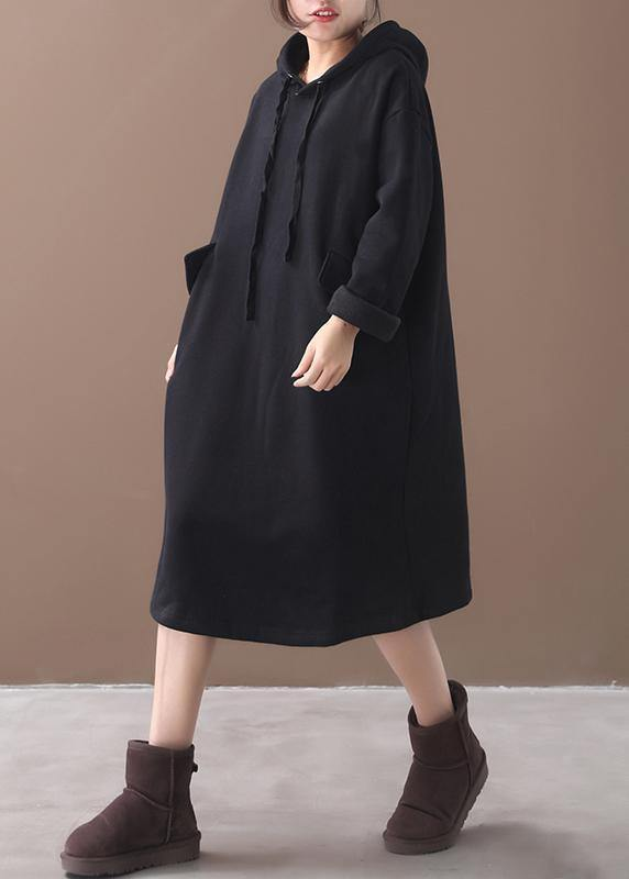 Women black cotton clothes Women hooded long winter Dress