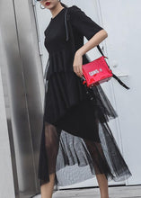 Load image into Gallery viewer, Women black cotton clothes patchwork tulle Maxi summer Dresses