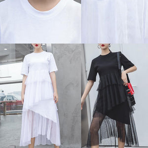 Women black cotton clothes patchwork tulle Maxi summer Dresses