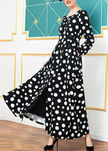 Load image into Gallery viewer, Women black cotton clothes winter big hem dotted Dresses