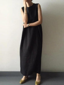 Women black cotton linen Robes o neck side open cotton robes Dresses