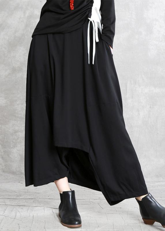 Women black cotton skirt elastic waist asymmetric skirt